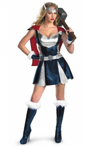 Womens Adult Marvel Sassy Thor Halloween Costume Blue