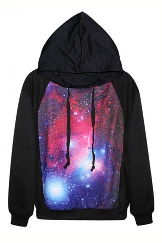 Black Classic Galaxy Ladies Long Sleeves Fancy Hoodie