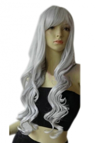 Silvery Classic Womens Long and Curly Hair Wig