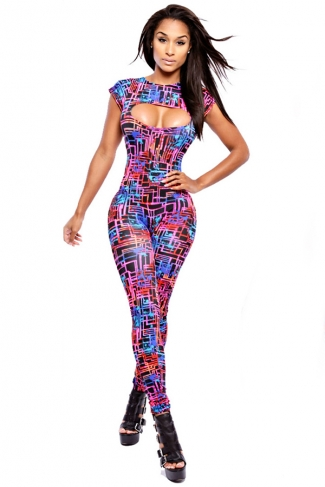 Black Sexy Ladies Colorful Printed Cut Out High Waisted Catsuit