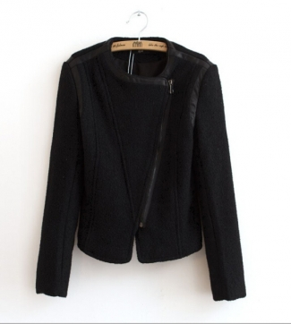 Black Wide Lapel Long Sleeves Zipper Vintage Womens Sexy Blazer