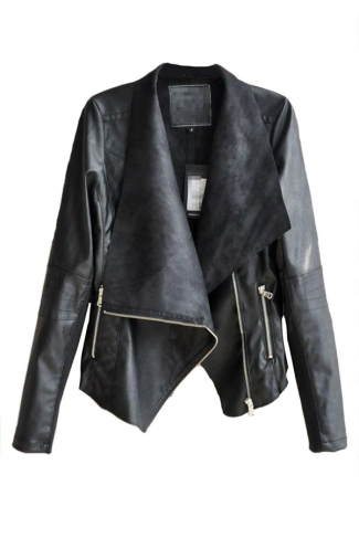 Black Womens Classic Punk Rivet Cool Lapel PU Leather Blazer