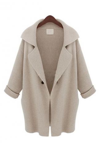 Beige Elegant Ladies Long Sleeve Turndown Collar Plain Wool Coat