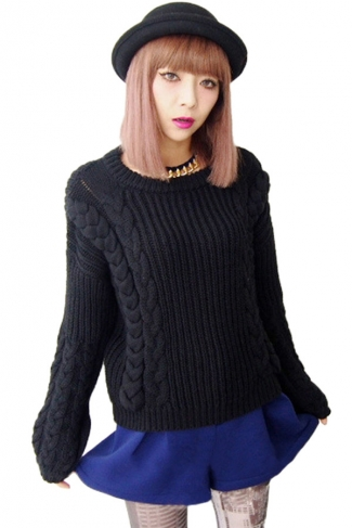 Black Ladies Warm Long Sleeves Knit Plain Vintage Pullover Sweater