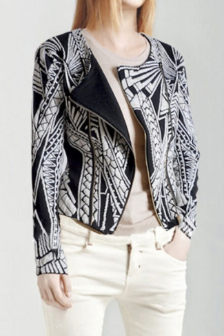 Black and White Retro Ladies Totem Printed Zip Long Sleeve Blazer