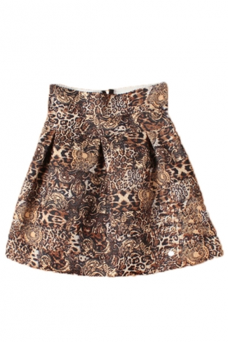 Coffee Sexy High Waisted Leopard Womens Pleated Skirt