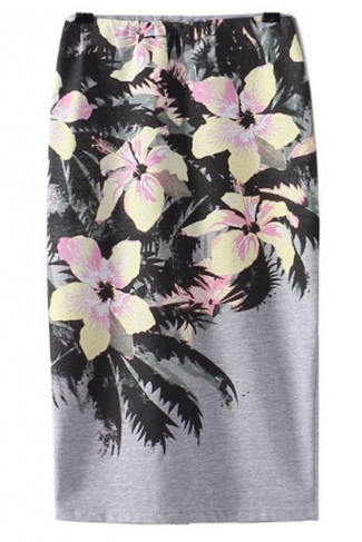 Gray Cut Out Modest Ladies Slim Flowers Printed Midi Skirt