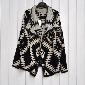 Black Ladies Chic Loose Geometric Rhombus Wool Coat
