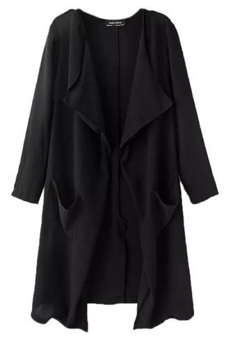 Black Womens Casual Wide Lapel Long Sleeves Trench Coat