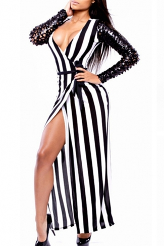 Black Classic Slit Stripes V Neck Hollow Out Long Sleeves Maxi Dress