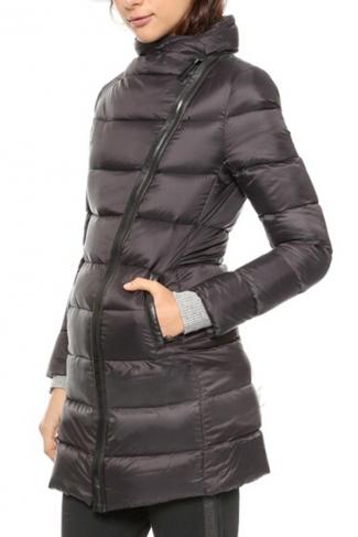 Black Chic Womens Winter Oblique Placket Warm Down Coat