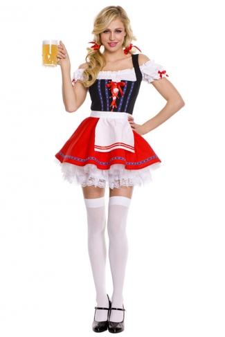 Black Sexy Adult Womens Beer Bar Maid Halloween Costume