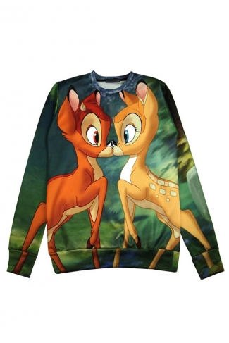 Green Cute Womens Bambi Crew Neck Pullover Printed Sweatshirt