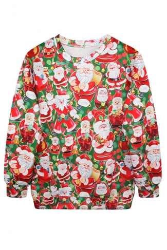 Womens Crew Neck Santa Printed Pullover Ugly Christmas Sweatshirt Red