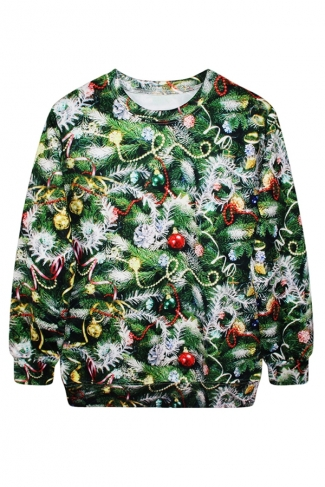 Womens Tree Printed Pullover Crew Neck Ugly Christmas Sweatshirt