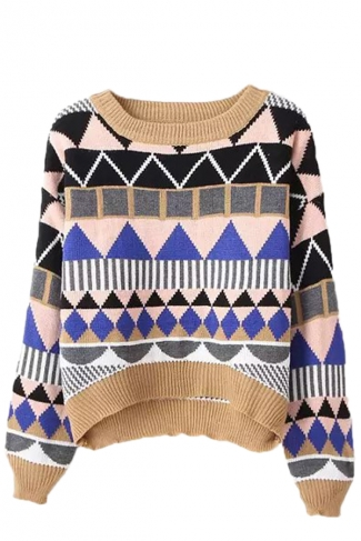 Yellow Pretty Ladies Argyle High Low Patterned Pullover Sweater