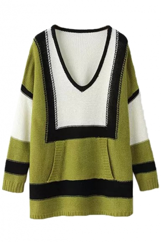 Green Chic Womens Color Block V Neck Oversized Pullover Sweater