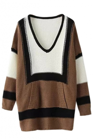 Khaki Chic Womens Color Block V Neck Oversized Pullover Sweater