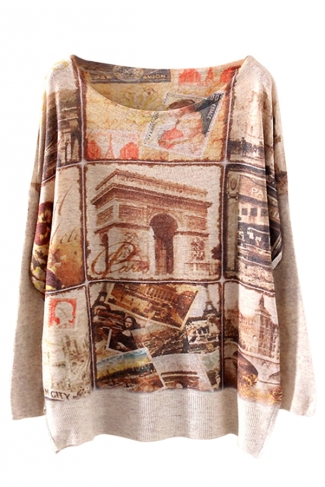 Khaki Womens Triumphal Arch Patterned Vintage Pullover Loose Sweater