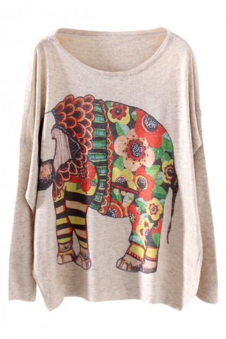 Beige Cool Womens Elephant Printed Oversized Pullover Sweater