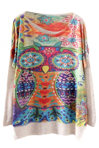 Beige Cool Womens Colorful Owl Printed Oversized Pullover Sweater