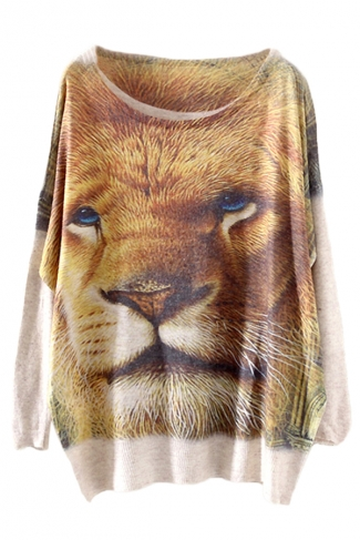Yellow Stylish Womens Lion Printed Oversized Pullover Sweater