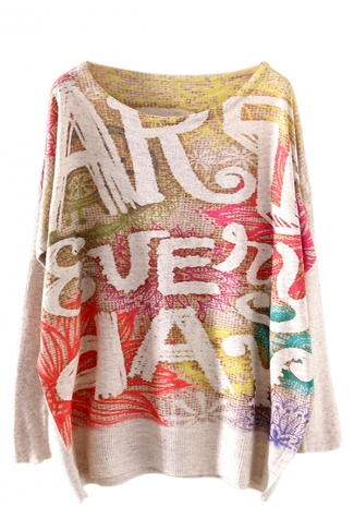 Beige Sexy Ladies Letter Printed Oversized Pullover Sweater