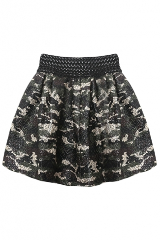 Green Ladies Trendy Worsted PU Camouflage Elastic Pleated Skirt