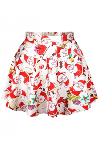 Red Womens Ugly Santa Claus Printed Cute Christmas Pleated Skirt