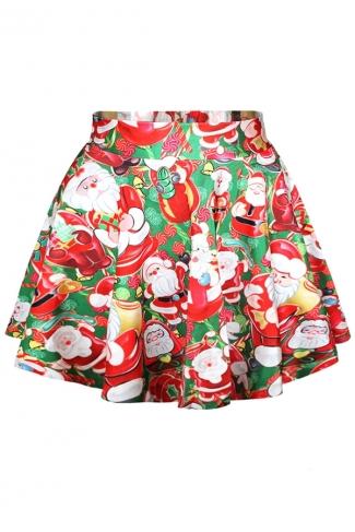 Red Ugly Santa Printed Cute Ladies Christmas Pleated Skirt
