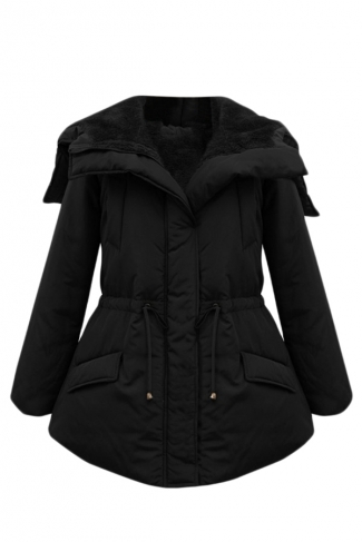 Black Stylish Womens Tunic Turndown Collar Warm Car Parka Coat