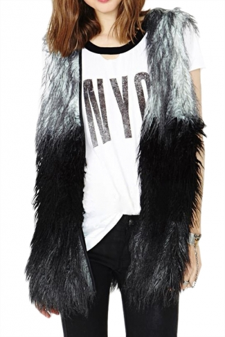 Black Fashion Ladies Sleeveless Patchwork Faux Fur Vest