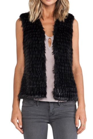 Black Pretty Womens Sleeveless Gradient Faux Fur Vest