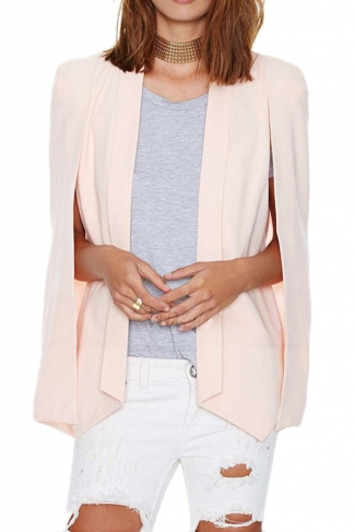 Pink Pretty Womens Opened Sleeve Cape Blazer
