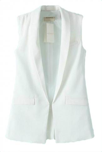 White Trendy Womens Slimming Sleeveless Business Suit Vest
