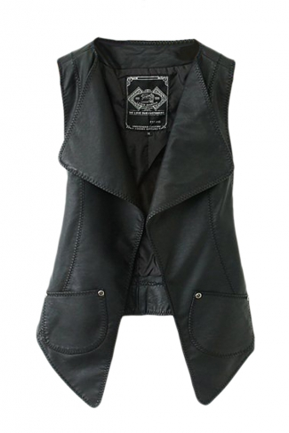 Black Trendy Womens Cool PU Cowl Neck Vest
