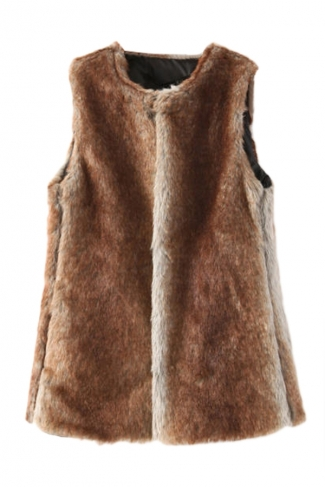 Coffee Pretty Ladies Warm Hooded Faux Fur Vest