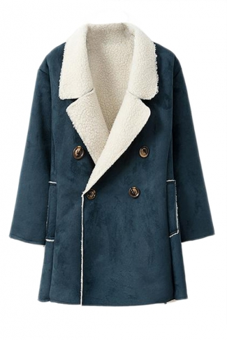 Blue Womens Fashion Long Sleeves Warm Winter Pea Suede Coat
