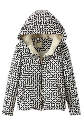 Black and White Cute Ladies Printed Winter Warm Hooded Car Coat