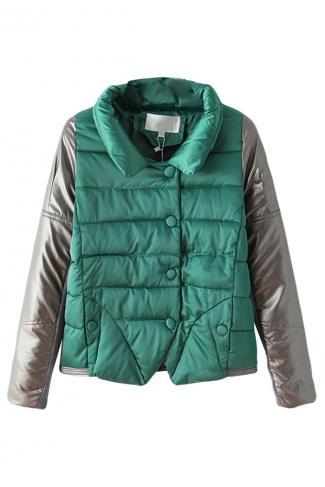 Green Leather Patchwork Stand Collar Warm Winter Quilted Car Coat