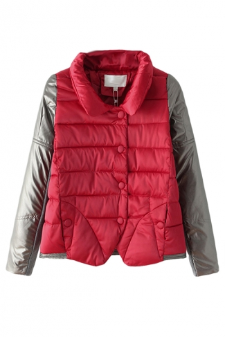 Red Leather Patchwork Stand Collar Warm Winter Quilted Car Coat
