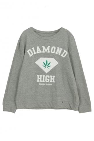 Gray Ladies Pullover Crew Neck Diamond Printed Sweatshirt