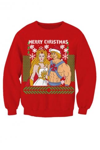 Womens Crew Neck Princess Prince Print Ugly Christmas Sweatshirt Red