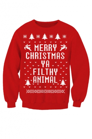 Womens Crew Neck Letter Printed Pullover Ugly Christmas Sweatshirt Red