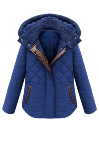 Blue Simple Womens Hooded Winter Warm Plain Quilted Coat