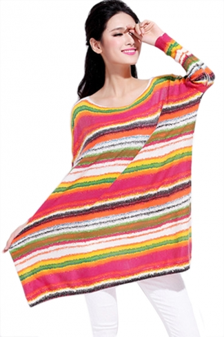 Red Rainbow Stripes Cute Womens Loose Long Pullover Sweater