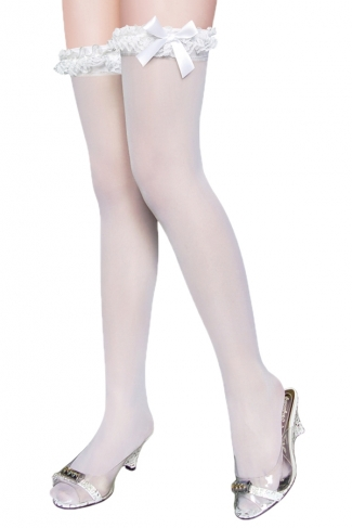 White Sexy Womens Lace Plain Thigh High Long Stockings