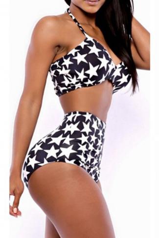 Black Halter Stars Bikini Top & Sexy High Waisted Swimwear Bottom