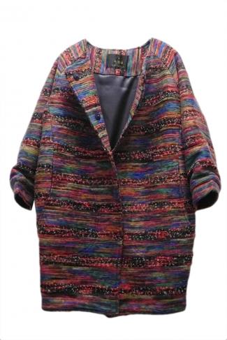 Ruby Trendy Ladies Colorful Printed Wool Long Oversized Coat