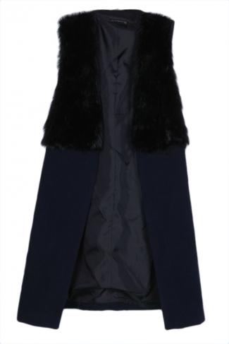 Black Trendy Womens Warm Winter Patchwork Faux Fur Long Vest